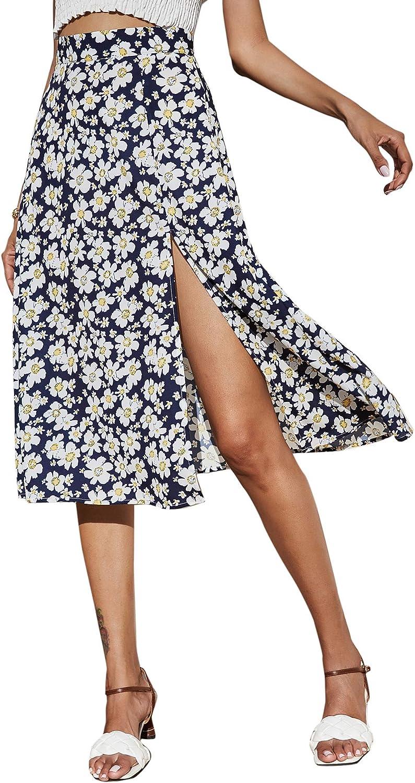 MakeMeChic Women's Floral Print Split Thigh High Waist Midi Skirt Boho Long Skirts