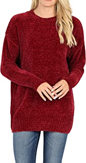 Vialumi Women's Regular Size Solid Round Neck Long Ultra Soft Long Sleeve Pullover Chenille Sweater Top