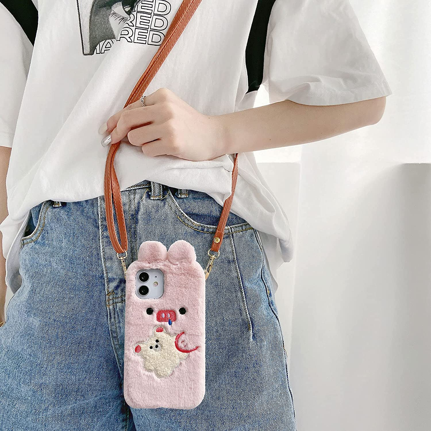 Fluffy Case for iPhone 13 Pro 6.1 Inch, Girlyard Super Cute Fuzzy Soft Faux Fur Plush Doll Shell with PU Leather Shoulder Strap Furry Shockproof Protective Cover for Women Girls, Pink, Pig Hugs Bear