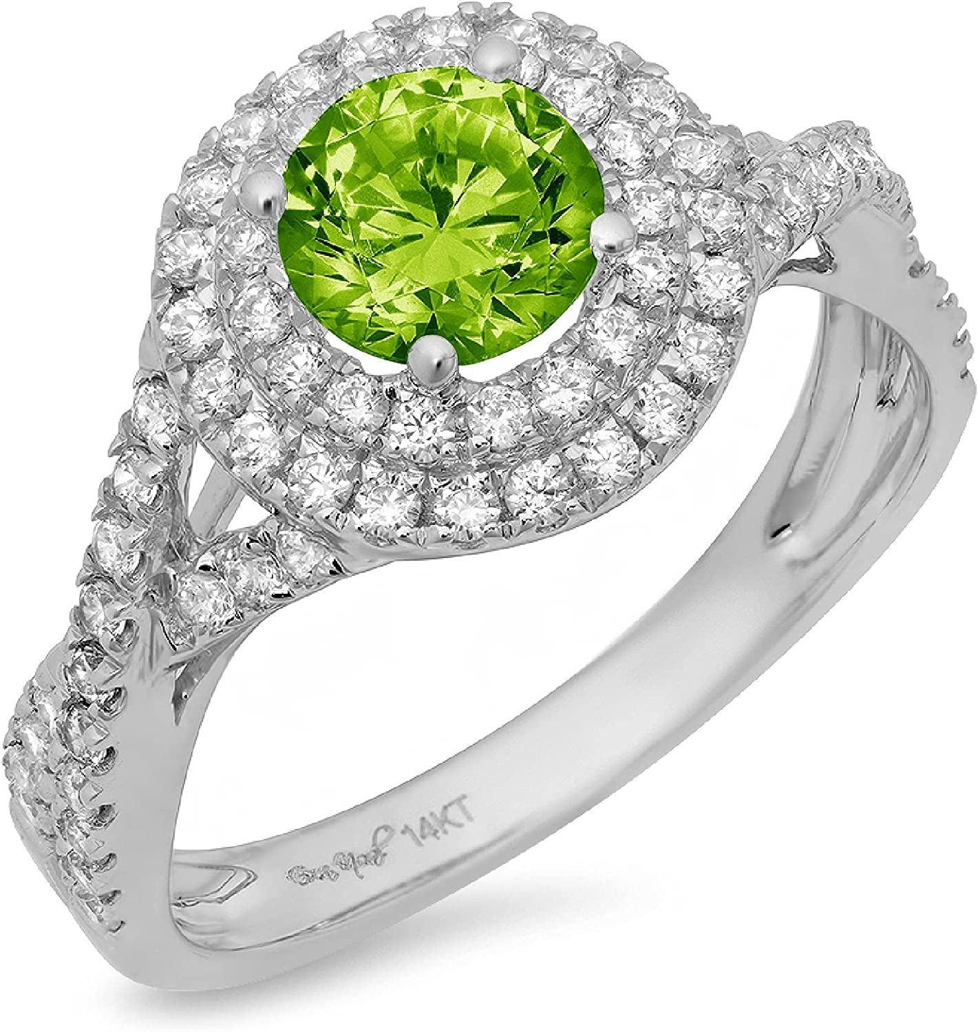 Clara Pucci 1.5 ct Round Cut Solitaire double halo Stunning Genuine Flawless Natural Green Peridot Gem Designer Modern Statement Accent Ring Solid 18K White Gold