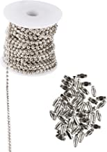 #6 Ball Chain Spool - Bead Chain Necklaces with 50 Connectors, Pull Chain, Jewelry Making Chains, Perfect for Men and Women's Accessories, Keychains and Jewelry DIY, Silver, 0.13 Inches x 32.8 Feet
