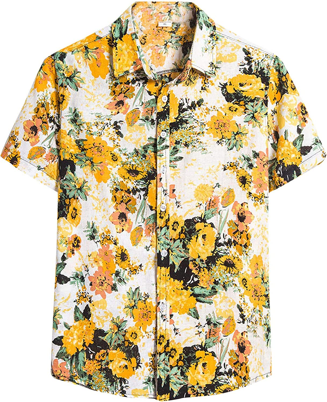FUNEY Men Graphic Shirts Floral Printed Short Sleeve Casual Button Down Shirts Plus Size Loose Aloha Funky Hawaiian Shirt