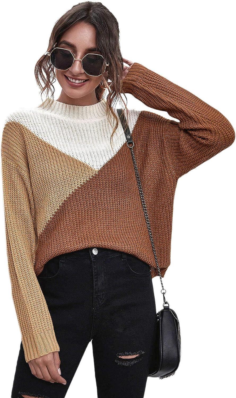 SweatyRocks Women's Casual Fashionable Color Block Long Tops Sleeve Sacramento Mall Pul Knit