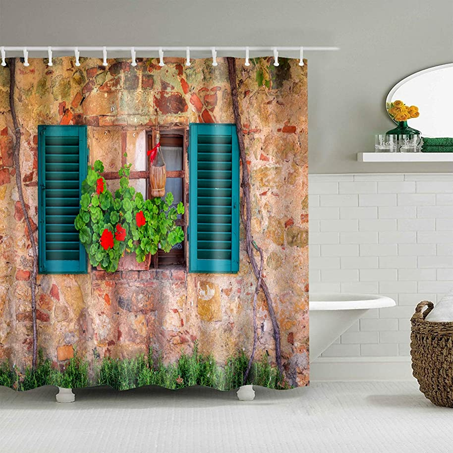 Hibbent Shutters Decor Shower Curtain - Weathered Old Window with Flowers and Grass on Brown Farmhouse Rural Scene Front View - Polyester Fabric Bathroom Shower Curtain Set with Hooks - 72 x 72 Inch