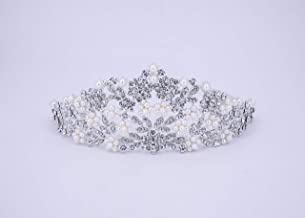 HairPro Rhinestone & Pearl Bridal Tiara/Crown Hair Accessories Perfect for Wedding Prom Birthday Party for Women and Girls