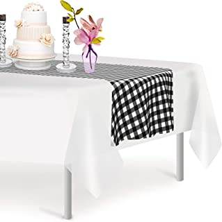 Black Checkered 6 Pack Gingham Premium Disposable Plastic Checkered Racing Flag Table Runner 14 x 108 Inch. Decorative Ta...