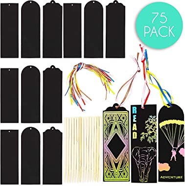 Rainbow Scratch Paper Bookmarks (75 Pack)