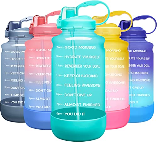Elvira Large 1 Gallon/128 oz Motivational Time Marker Water Bottle with Straw & Protective Silicone Boot, BPA Free An...