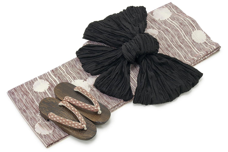 [ボヌールセゾン] bonheur saisons レディース浴衣セット 兵児帯 赤 レッド 白 黒 雪輪 ゆきわ 横縞 綿 変わり織