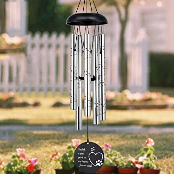 ASTARIN Pet Memorial Wind Chime, 30 Inches Paw Print Pet Memorial Gift to Honor and Remember a Dog, Cat, or Other Pet, Beautiful Remembrance Gift for a Grieving Pet Owner