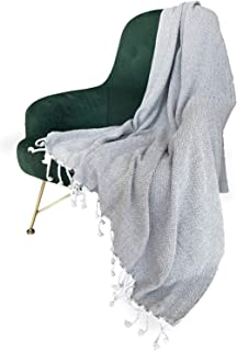 MOTINI Grey Throw Blanket Plaid Pattern Decorative Cozy Knit Blankets Gray and White Weave Throws with Fringe Tassel 50
