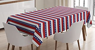 Ambesonne 4th of July Tablecloth, Stars and Stripes Pattern American Flag Inspired Patriotic Theme, Dining Room Kitchen Rectangular Table Cover, 60