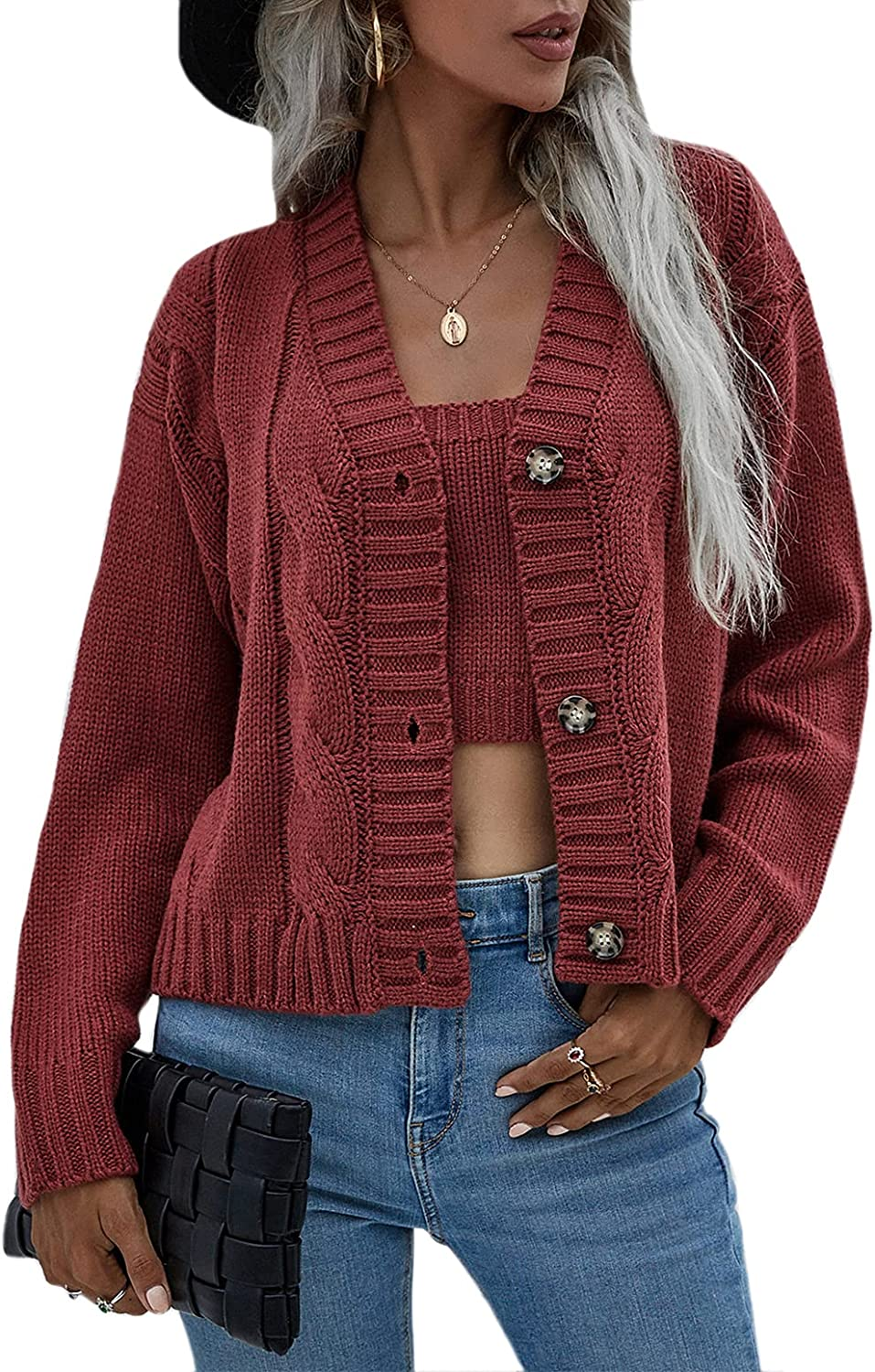 Mansy Womens Sexy Cardigan Sweaters Set Cropped Tank Tops with Casual Buttons Down Outerwear Two Piece Outfits