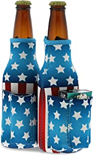 Blue Panda Patriotic Beer Bottle Cooler Sleeves with Cigarette, Lighter Holder (2 Pack)