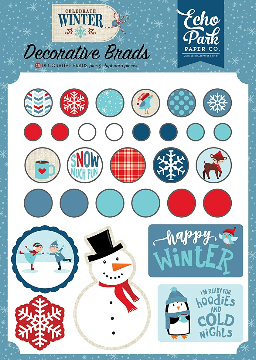 Echo Park Paper Company CW162020 Celebrate Winter Decorative Brad Red/Blue/Navy/Green/White