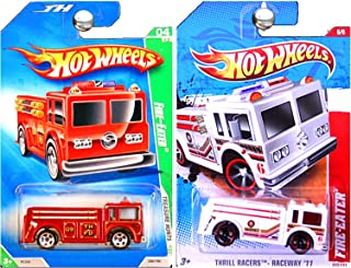 Hot Wheels Fire Eater Truck Engine 2009 Treasure Hunt in Red and 2011 in White Set of 2