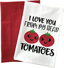 Kitchen Towels Set, Funny Dish Towels, I Love You from My Head Tomatoes, Flour Sack Towels, Set of Two White and Red, Farm...