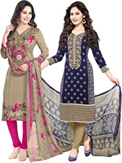 ishin Women's Synthetic Dress Material (Pack of 2)