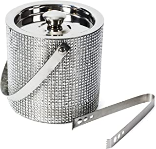 crystal ice bucket with silver handle