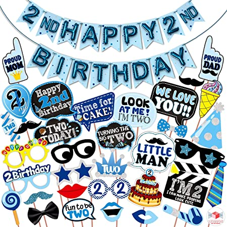 WOBBOX Second Birthday Photo Booth Party Props Blue for Baby Boy with 2nd Birthday Bunting Banner for Baby Boy in Blue, 2nd Birthday Decorations for Boys, Kids Birthday Party Decoration Items