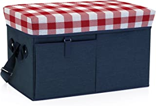 ONIVA - a Picnic Time Brand Ottoman Insulated Collapsible Cooler/Picnic Tote, Navy with Red Gingham