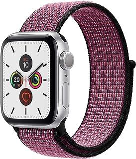 Apple Watch Kordon 38 mm - 40 mm Seri 2 3 4 5 Spor Loop Dokuma Parlak Pembe / Koyu Mor