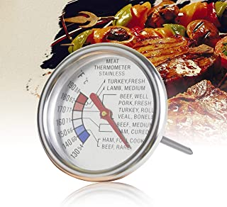 Aveloki Roasting Meat Thermometer T729E,Stainless Steel Classic Fry Meat Thermometer,Silver Easy-Read Face for BBQ Household