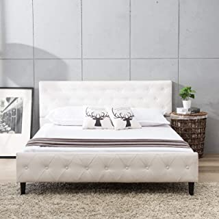 Mecor Upholstered Faux Leather Platform Bed with Solid Wooden Slat Support and Button Tufted Headboard and Footboard, White, Full Size