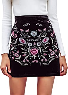 Women's High Waist Embroidered Mini Skirt Boho Floral Pencil Skirt