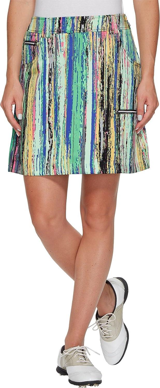 Jamie Sadock Womens Skinnylicious Parfait Print Side Zip and Button 18 in. Skort