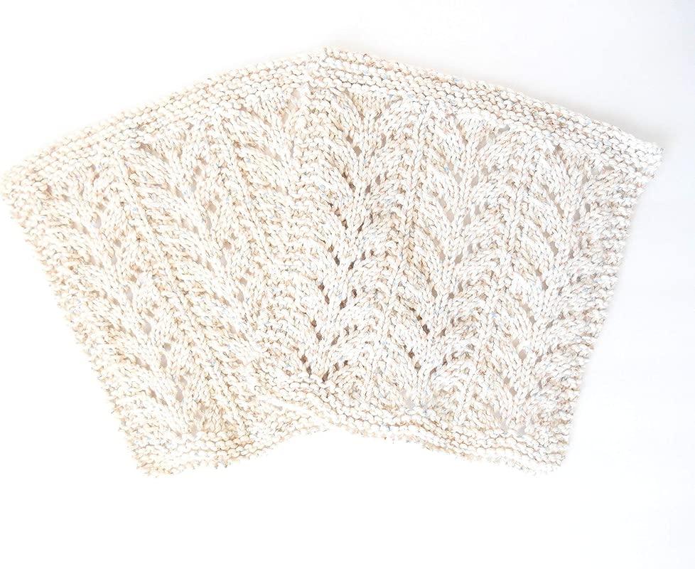 Hand Knit Washcloth Handmade Dish Cloth Knit Lacy Dishcloth