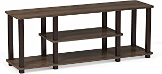 FURINNO Turn-S-Tube No Tools 3D 3-Tier Entertainment TV Stands, Square, Walnut/Brown