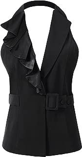 Vocni Women's Halter Neck Sleeveless Slim Fit Economy Dressy Suit Vest Waistcoat