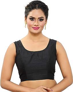 MADHU FASHION's Poly Raw Silk Sleeveless Stitched Saree Blouse