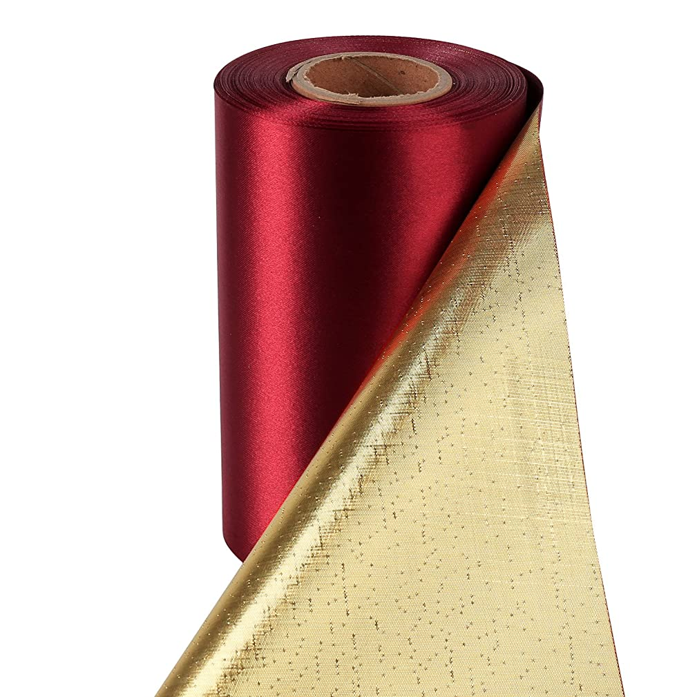 LaRibbons 6 inch Wide Luxury Double Side (Sherry Red Satin and Metallic Gold) Grand Opening Ceremonial Satin Ribbon by 10 Yards/Spool