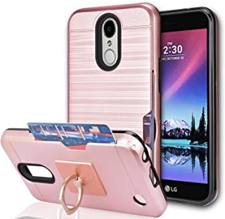 LG K20 Plus/LG K20 V/LG Harmony/LG Grace LTE / K10 2017 Case with Phone Stand,Ymhxcy [Credit Card Slots Holder][Wallet] Dual Full-Body Shockproof Protective Cover Shell for LG LV5-LCK Rose Gold