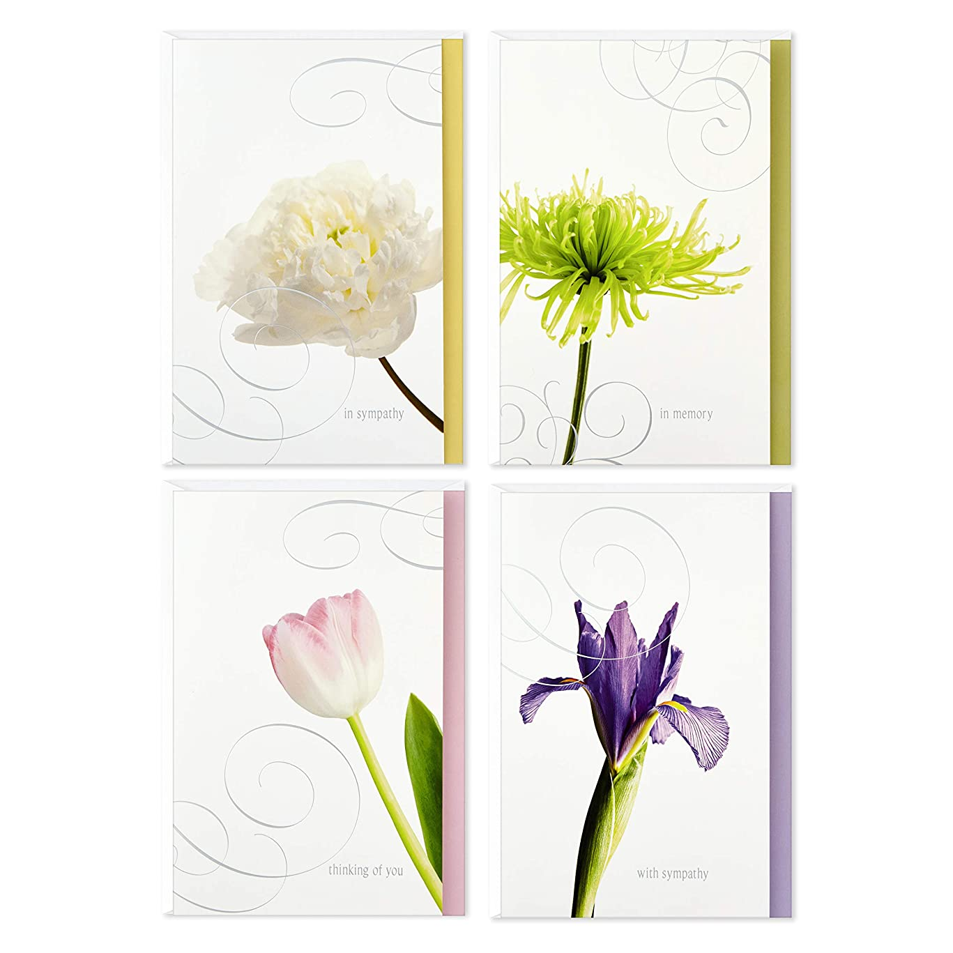 Hallmark Assorted Sympathy Cards, Flowers (12 Cards and Envelopes)