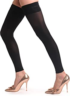 Sexy Black Footless Hold Ups With Silicon Top - Hold Ups