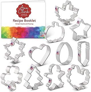 Ann Clark Cookie Cutters 11-Piece Every Season Cookie Cutter Set with Recipe Booklet, Pumpkin, Turkey, Star, Shamrock, Eas...