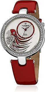 Akribos XXIV Women's Ornate Lady Diamond Parrot Dial Swiss Quartz Leather Strap Watch
