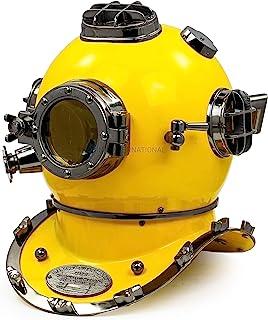 "Nagina International 18"" US Navy Scuba Diving Nautical Helmet | Maritime Ship's Decorative Yellow Cobalt Premium Snorkelin..."
