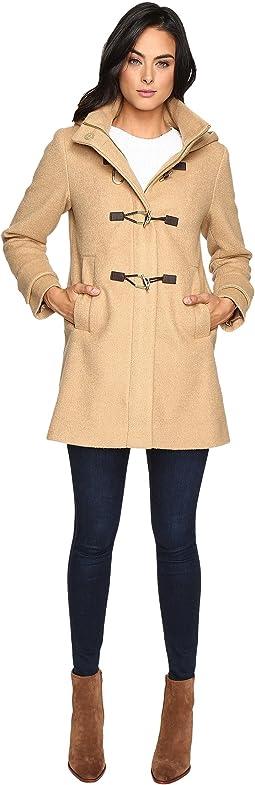 Hooded Toggle Closure Wool Coat L8311