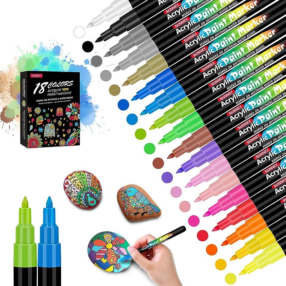 Acrylstifte für Steine, 18 Farben 0.7mm Acrylstifte Marker Stifte Wasserfeste Steine Bemalen Stifte für Kunst Malerei, Steine, DIY Fotoalben, Scrapbooking