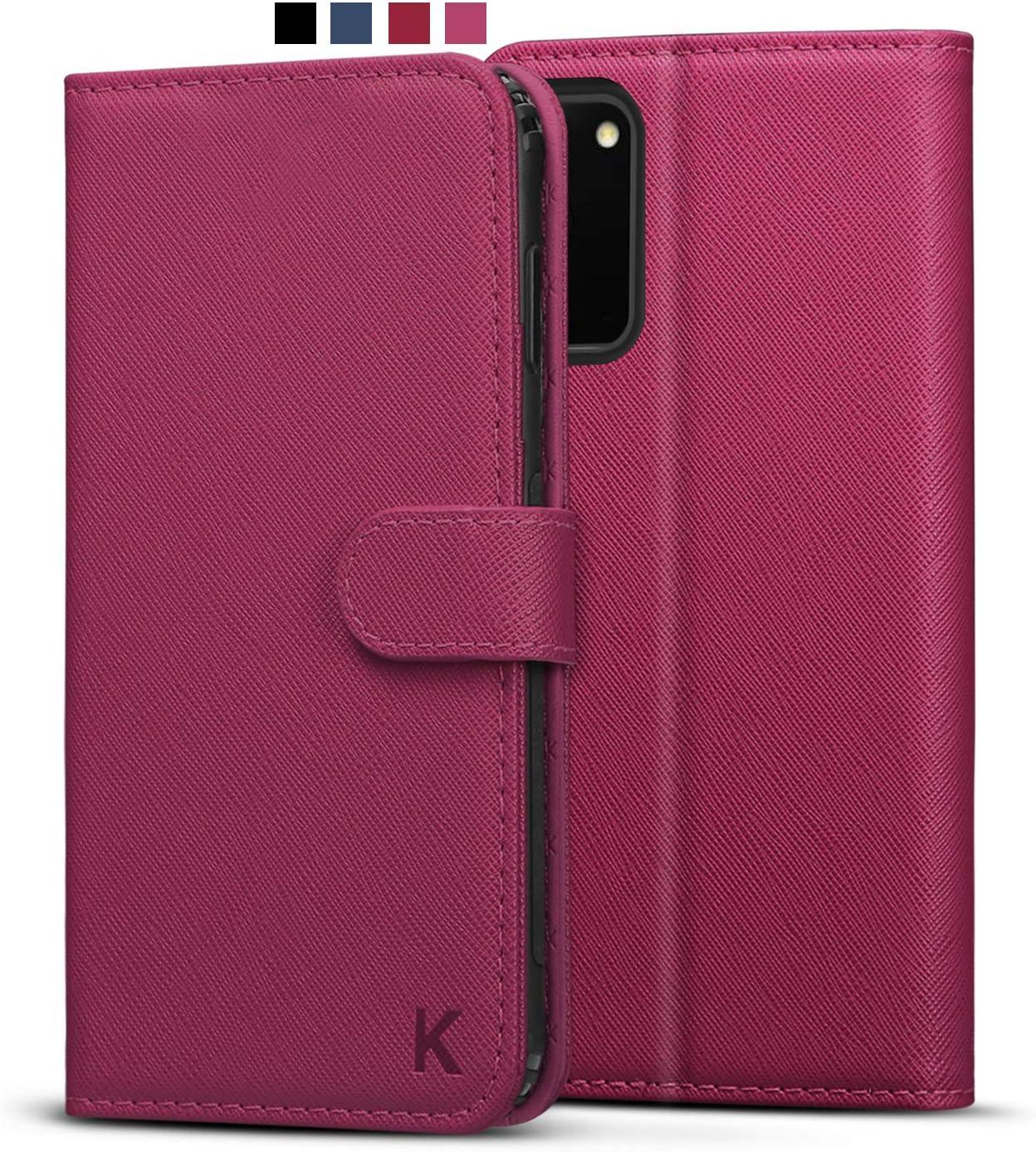 KILINO Samsung Galaxy S20 Wallet Case [PU Leather] [Soft TPU] [RFID Blocking] [Shock-Absorbent Bumper] [Card Slots] [Kickstand] [Magnetic Closure] Flip Folio Cover for Samsung Galaxy S20 5G (Magenta)