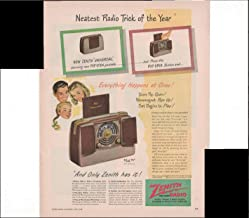 Zenith Long Distance Radio Portable Wavemagnet Pops Up Home Entertainment 1948 Vintage Antique Advertisement