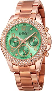 August Steiner Women's Multifunction Crystal Bezel Fashion Watch - Green Sunburst Diamond Dial with Day of Week, Date, and 24 Hour Subdial on Rose Gold Tone Stainless Steel Bracelet - AS8136