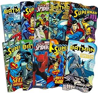 Superhero Board Books Ultimate Set Toddlers Kids -- 10 Shaped Board Books Featuring Batman, Superman, Spiderman and More