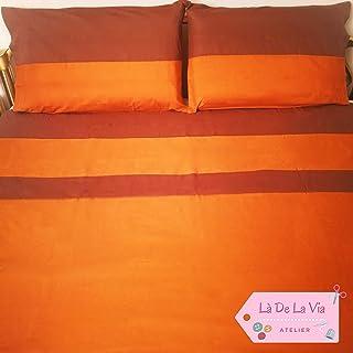 Elegante set lenzuola matrimoniali puro cotone artigianali made in Italy - arancio e marrone - Personalizzabili con iniziali