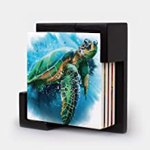 Monarque Ceramic Four Drink Coasters and Holder (Sea Turtle)