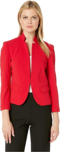 Stand Collar Crepe Kiss Front Jacket